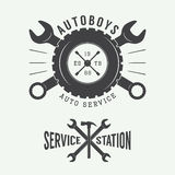Vintage mechanic label, emblem and logo. Vector illustration Stock Photos