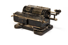 Vintage mechanical counting machine. Old manual adding machine to do arithmetic Stock Photos