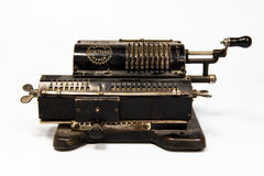 Vintage mechanical counting machine. Old manual adding machine to do arithmetic Royalty Free Stock Images