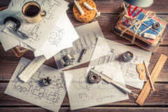 Vintage mechanical engineer desk stock images