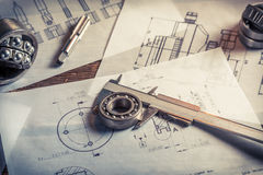 Vintage mechanical engineer desk at the university stock photos