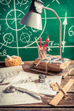Vintage mechanical engineer desk at the university Royalty Free Stock Photo