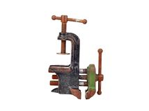 Vintage mechanical hand vise clamp Royalty Free Stock Image
