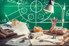 Vintage mechanical Laboratory in School stock photos