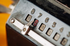 Vintage mechanical manual counting machine Stock Photography