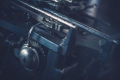 Vintage Mechanics. Aged Vintage Metallic Machine Elements. Dark Blue Color Grading Stock Images