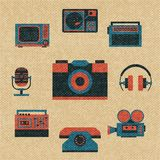 Vintage media icons. Set vector illustration Royalty Free Stock Images