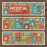 Vintage medical banners set. Metro style Stock Photo