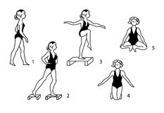 Vintage medical gymnastic exercises. Stock Images