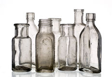 Vintage medicine bottles. Isolated on white ground stock photos
