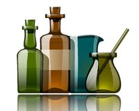 Vintage medicine bottles, vector Royalty Free Stock Photo