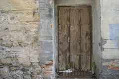 Vintage, medieval door Spanish city of Segovia. Old wooden entra. Nce. ancient architecture Royalty Free Stock Photography