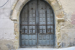 Vintage, medieval door Spanish city of Segovia. Old wooden entra Royalty Free Stock Images