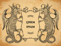 Free Vintage Medieval Dragon And Ribbon Banner On Aged Paper Background. Royalty Free Stock Photo - 59774365