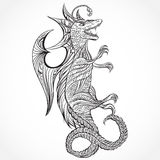 Vintage medieval dragon. Retro highly detailed hand drawn illustration. Tattoo design, retro invitation,card, Stock Image