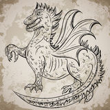 Vintage medieval dragon. Retro highly detailed hand drawn illustration. Tattoo design, retro invitation,card, print,. T-shirt, postcard, poster Royalty Free Stock Image