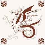 Vintage medieval dragon (Wyvern) Stock Photo