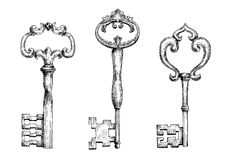 Vintage medieval skeleton keys sketches. Decorative vintage skeleton keys isolated sketches, adorned by curly elements. Nice in medieval stylized design Stock Images