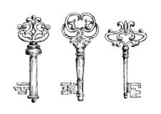Vintage medieval sketched key skeletons Royalty Free Stock Photography