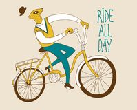 Vintage meerkat cyclist Royalty Free Stock Images