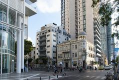 23 May 2017. Vintage meets modernity. Rothschild Boulevard in Tel Aviv. Israel. Vintage meets modernity. Rothschild Boulevard in Tel Aviv. Israel royalty free stock photo
