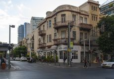 23 May 2017. Vintage meets modernity. Rothschild Boulevard in Tel Aviv. Israel. Vintage meets modernity. Rothschild Boulevard in Tel Aviv. Israel royalty free stock photography
