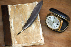 Vintage memories on wooden background, Pocket book for recorded memories Stock Photo