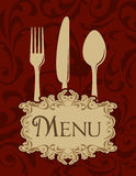Vintage menu. Background with fork, spoon and knife Stock Images