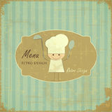 Vintage Menu Card Design with chef Stock Photos