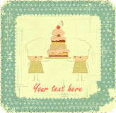 Vintage Menu Card Design with chef, birthday card Royalty Free Stock Image