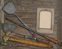Vintage menu card and utensils Royalty Free Stock Image