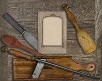 Vintage menu card and utensils Royalty Free Stock Photo