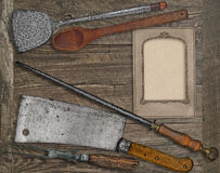 Vintage menu card and utensils Stock Photos