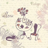 Vintage menu cover design with texture and sketch drawing Stock Image