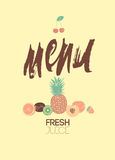 Vintage menu of fresh juices. Vector illustration. Stock Photos