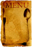 Vintage menu with spoon, fork and knife Royalty Free Stock Images
