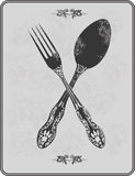 Vintage menu, spoon and fork. Vector illustration. Stock Image