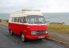 Vintage mercedes benz camper. Photo of a vintage mercedes benz camper van overlooking kent coast of herne bay Stock Photo