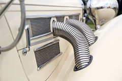 Vintage mercedes chrome exhaust outlets Stock Images