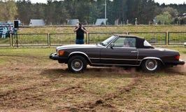 Vintage Mercedes 380 SL cabrio speed test Stock Photos