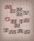 Vintage Merry Christmas. Authors illustration in vector Stock Photo