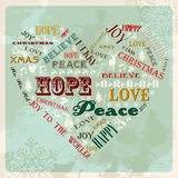 Vintage merry christmas concept heart Royalty Free Stock Photos