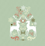 Vintage Merry Christmas decoration with reindeers  Royalty Free Stock Photo