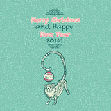 Vintage Merry Christmas doodles card with monkey Royalty Free Stock Images