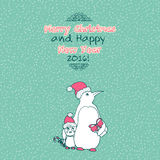 Vintage Merry Christmas doodles card Stock Photography