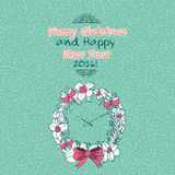 Vintage Merry Christmas doodles card. With christmas wreath, hand-written text vector illustration