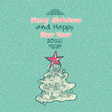 Vintage Merry Christmas doodles card. With xmas tree, hand-written text Royalty Free Stock Photo