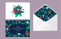 Vintage Merry Christmas envelope set. Vintage Merry Christmas And Happy New Year envelope template design set. Berries, sprigs and leaves stylish vector Stock Photo
