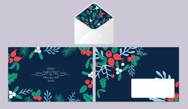 Vintage Merry Christmas envelope set. Royalty Free Stock Photo