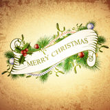 Vintage Merry Christmas Greetings Design Royalty Free Stock Photography